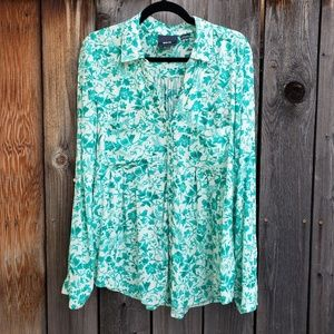 Anthropologie Maeve Green White Floral Top